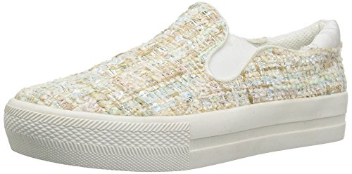 The Fix Women's Jaylene Slip-on Fashion Sneaker Bright White/Multi Tweed