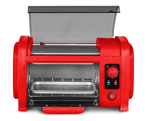 Elite EHD-051R Cuisine Hot Dog Roller Toaster Oven Combo, Red