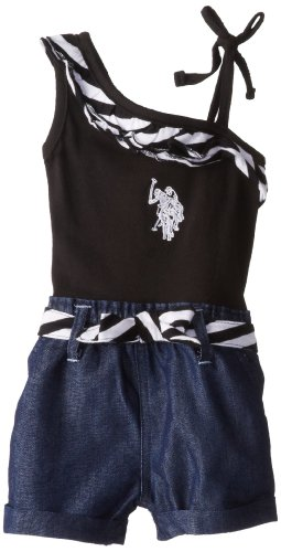 U.S. POLO ASSN. Girls 2-6X One Shoulder Knit and Denim Romper