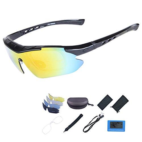 ShareWe Fietsbril met 5 verwisselbare glazen, gepolariseerde sportzonnebril, voor mannen en vrouwen, fietsen…