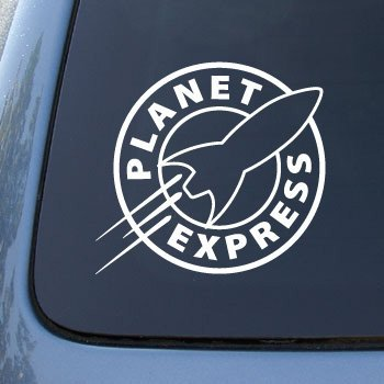 Crawford graphix planet express futurama vinyl decal sticker 5 5 white