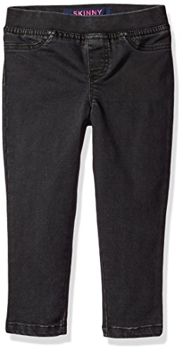 French Toast Girls' Little Pull-On Denim Pant, Black Wash Over Dye, 4