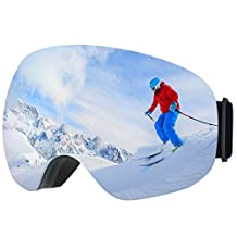 [Anti-Fog&OTG ] Ski Goggles,Patec Snowboard Skate Goggles Over Glasses Snowmobile Ski Snow Goggles with 100% UV400 Protection,180°wide viewing Angle and Spherical Dual-layer Lens,Bendable Frame,Anti-slip Strap for Boys,Girls,Youth,Mens,Womens Skiing Skating Snowboarding-Blue