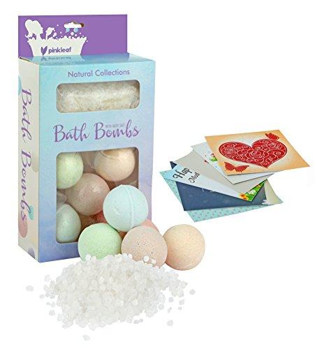 Bath Bombs Spa Gift Set 5 USA Designed Fizzies, with Bath Sa