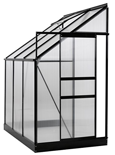 Ogrow 25 sq.ft. Aluminum Lean-To Greenhouse with 6′ x 4′ x 7′ Sliding Door & Roof Vent