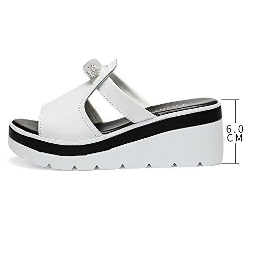 Negro Beach 5 Shoes Rhinestone EU37 tacón Tamaño Color Summer pantuflas LHA Crust Zapatillas UK4 Sandalias CN37 Blanco y de 5 Outer Sandalias Chanclas Thick alto Heel RqaZWWBUw