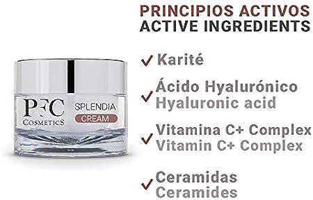 PFC Cosmetics - Crema Facial Antiarrugas Hidratante Splendia Cream 50ml con Ácido Hialurónico y Vitamina B3 y E Para Nutrición del Rostro y Cuidado Personal.