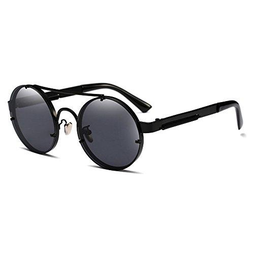 Bastidor Marca diseñador Gafas tallar Burenqi de Sol Mujer A C Steampunk Gafas Vintage metálico Sol de para Ronda Hombres gwpgqz8