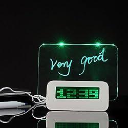 NICE Creative Erasable Memo Board Fluorescent light message board LED Digital Alarm Clock USB 5 Port Hub With Thermometer Calendar Snooze Gift(green)