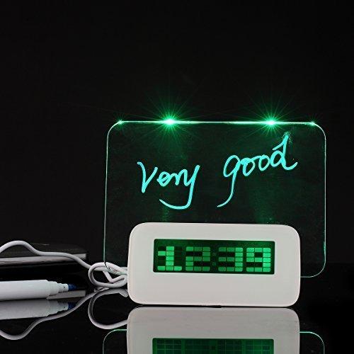 Nice Creative borrable Memo Board Luz fluorescente Mensaje Board LED Digital Alarma Reloj USB 5Puertos Hub con termómetro...