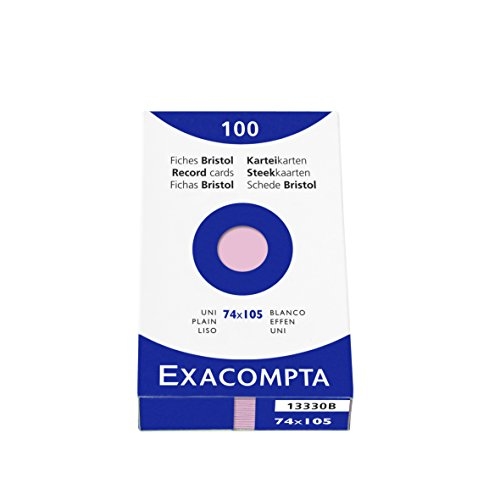 Exacompta 74 x 105 mm Bristol Plain Record Card, Pink, Pack of 100