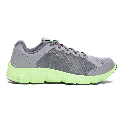 Under Armour Boys' Grade School Micro G Assert 6 Running Shoes, Steel/Lime Light, 6 M US Big Kid