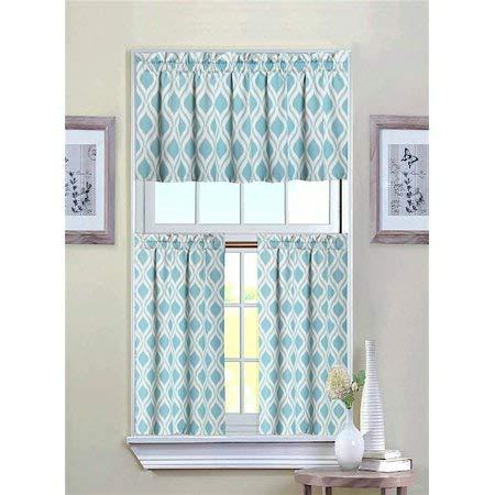 GoodGram Ultra Luxurious Turquoise Geometric Shabby 3 Piece Kitchen Curtain Tier & Valance Set ()