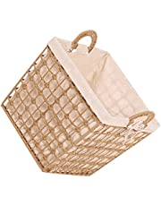 YARNOW 1Pcs Laundry Hamper with Handles Handwoven Rattan Laundry Baskets Clothes Hamper with Removable Liner Bag ( Square )