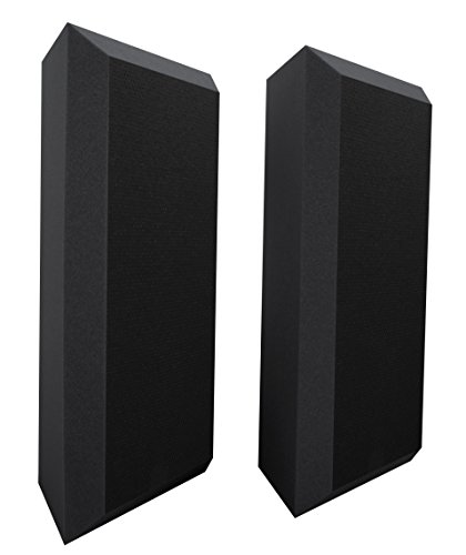 Ultimate Acoustics UA-BTVBG Bass Trap Professional Acoustic Foam with Bevel, Vinyl Covering and Mounting Tabs Included, 2 Pairs by Ultimate