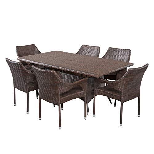 Great Deal Furniture 295820 Clayton Patio Furniture ~ Outdoor 7pc Multibrown Wicker Dining Set, Brown