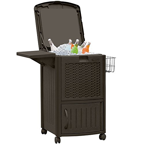 Suncast Wicker Outdoor Cooler with Wheels - Portable Outdoor Bar Cart to Store Ice, Drinks, and Frozen Treats - Store on Deck or Patio - Dark Brown (Shelves For Coolers)