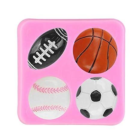 Liekas - Pelota de fútbol de Rugby para tenis, baquetas, fondant, silicona, color rosa: Amazon.es: Juguetes y juegos