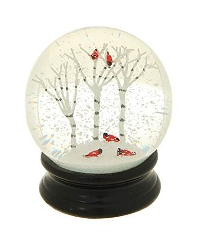 Winter Snow Globe by RAZ Imports:  4.5 Inch Cardinal Snow Globe (Birch Trees)