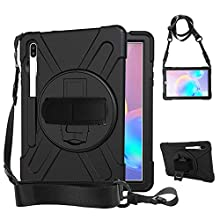 Rantice Samsung Galaxy Tab S6 10.5 Case, Heavy Duty Rugged Shockproof Drop Protection Case with 360 Stand, Pen Holder & Hand Strap & Shoulder Strap for Galaxy Tab S6 2019 10.5 Inch T860/T865 (Black)