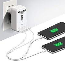 Milool Cargador Rapido Móvil, Adaptador Enchufe de Viaje Universal Cargador Enchufe USB con Dos Puertos USB(2.4A) para Europa,Enchufe deste ...