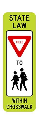 R1-6b In-Street Ped Crossing Sign FYG - 12 x 36 - 3M
