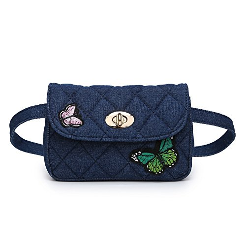 Waist Butterfly Bag Butterfly Dark Denim Elegant Crossbody Pack Badiya Bag Fanny Women Quilted Blue HqRnE