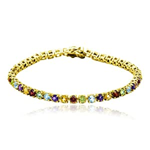"""18k Yellow Gold Plated Sterling Silver Multi-Gemstone Bracelet, 7.25"""" from Amazon Curated Collection"""