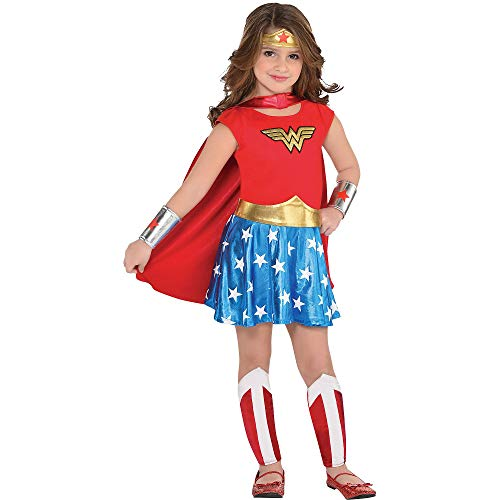 Costumes USA Wonder Woman Costume for Toddler Girls, Size 3-4T, Includes a Dress, Cape, a Headband, Gauntlets, and More]()