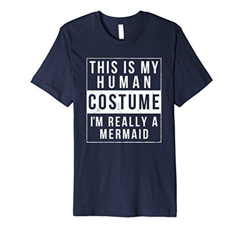 Mens Mermaid Costume Halloween TShirt Funny Men Women Girl Large Navy