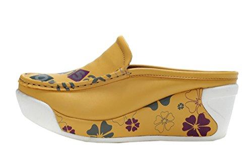 Guciheaven Women New Style Beautiful Cute Platform Cowhide Shoes(5 B(M)US, Yellow)