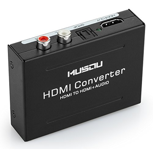 Musou 1080P HDMI Audio Extractor HDMI to HDMI + Optical Toslink(SPDIF) + RCA(L/R) Stereo Analog Outputs Video Audio Splitter Converter ()