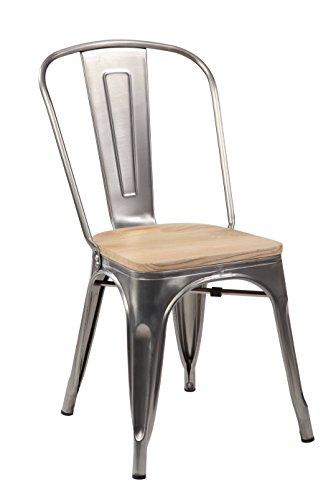Transparent Antique (Tolix Style Metal Bar Stools Stackable Home Bistro Dining Bar Chairs with Handmade Wooden Seat and Backrest, Set of 4 Transparent)