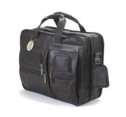 ve Computer Leather Briefcase, Messenger Bag in Cafe ()
