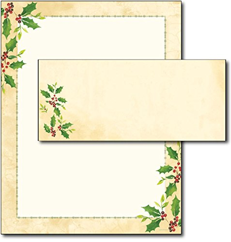 Falling Holly Christmas Letterhead Paper & Envelopes - 40 Sets (And Envelopes Christmas Stationery)