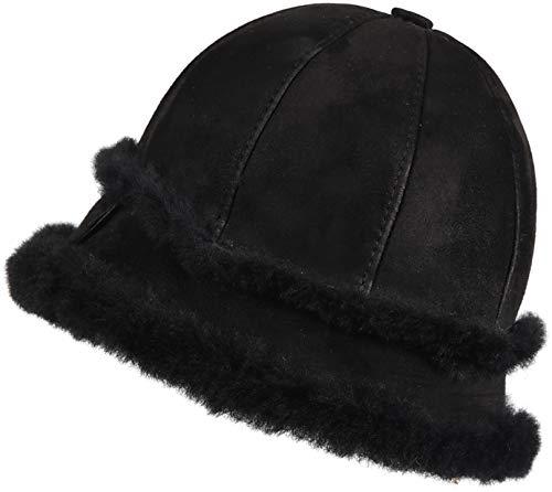 Zavelio Women's Shearling Sheepskin Winter Fur Bucket Beanie Hat Black Suede S