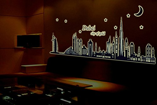 Bestgrew 174 Dubai City Night View Removable Wall Decals