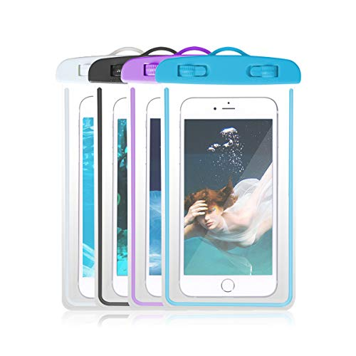 4-Pack Universal IPX8 Waterproof Case, Luminous Cellphone Dry Bag Phone Pouch for iPhone X/8/7Plus/6S Plus/SE/5S, Huawei, Samsung Galaxy Note, Google Pixel 2 HTC LG Sony MOTO up to 6.0 (Assorted A)