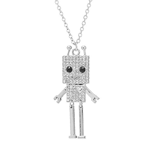 (SpinningDaisy Silver Plated Smiling Square Robot with Antenna Strand Necklace)