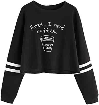 82a04115c6072 Makulas Women Long Sleeve Pullover Teen Girls Letter Print Cotton Crop Top  Pullover Top Sweatshirt Hoodie