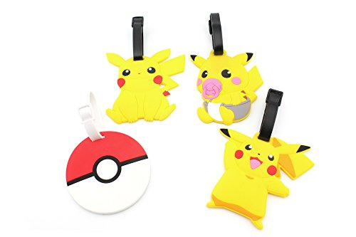 - Finex Set of 4 - Pikachu Poke Ball Travel Luggage Tags Bag Tag Adjustable Strap