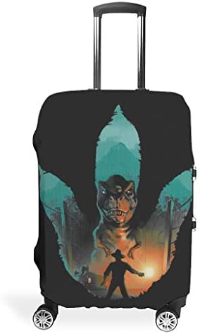 Jurassic Footprint Cool Various Types Luggage Covers Protective Washable 18/24/28/32 Inch for Carry On Luggage Jurassic White s (19-21 inch)