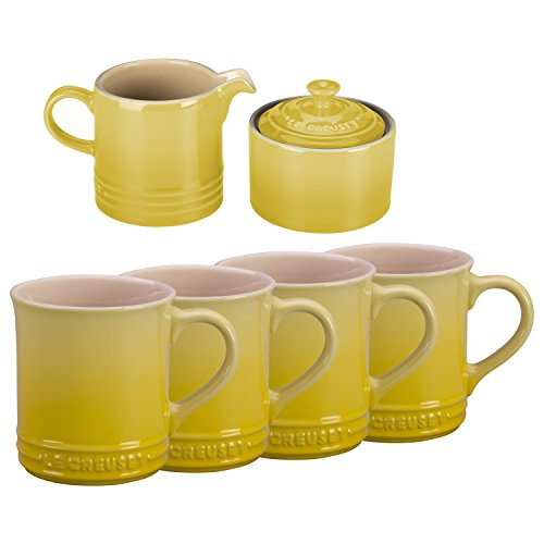 Le Creuset Soleil Yellow Stoneware 6 Piece Coffee or Tea Service Set with Mugs and Cream & Sugar Set by Le Creuset