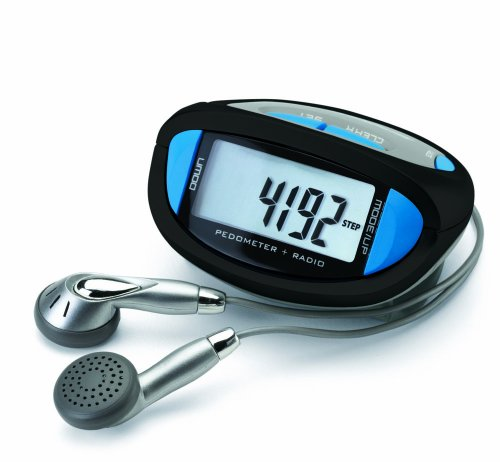 Sportline 354 FM Radio Pedometer With Volume Control Earbuds For Crystal Clear Sound, Accurately Tracks Steps And Distance (Pedometer Advantage Sportline Walking)
