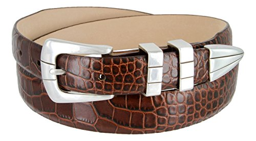 Italian Designer Brown Leather - Vince Italian Calfskin Leather Designer Golf Dress Belt for Men (40, Alligator Brown)