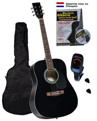Western Gitarren Set, Buch, Karaoke-CD, gepolst.Tasche, digitales Stimmgerät, Plectren