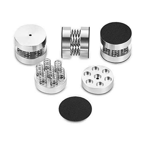 Nobsound 4PCS Silver Aluminum Spring Speakers Spikes Isolation Stand for HiFi Amplifiers by Douk Audio (Image #2)