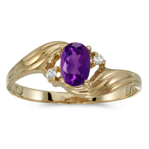 14k Yellow Gold Oval Amethyst And Diamond Ring (Size 9) by Direct-Jewelry