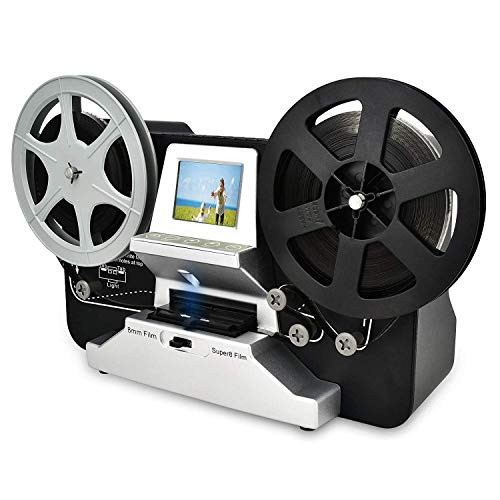 "8mm & Super 8 Reels to Digital MovieMaker Film Sanner,Pro Film Digitizer Machine with 2.4"" LCD, Black (Film 2 Digital Movie Maker&8mm Film Scanner) with 32 GB SD Card"