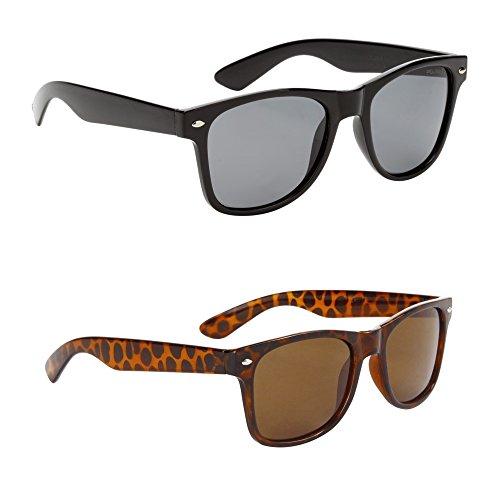 Classic Adult Eyewear 53mm POLARIZED Caminantes Wayfarers Sunglasses (2 Pack Black / Tortoise, (Classic Eyewear)